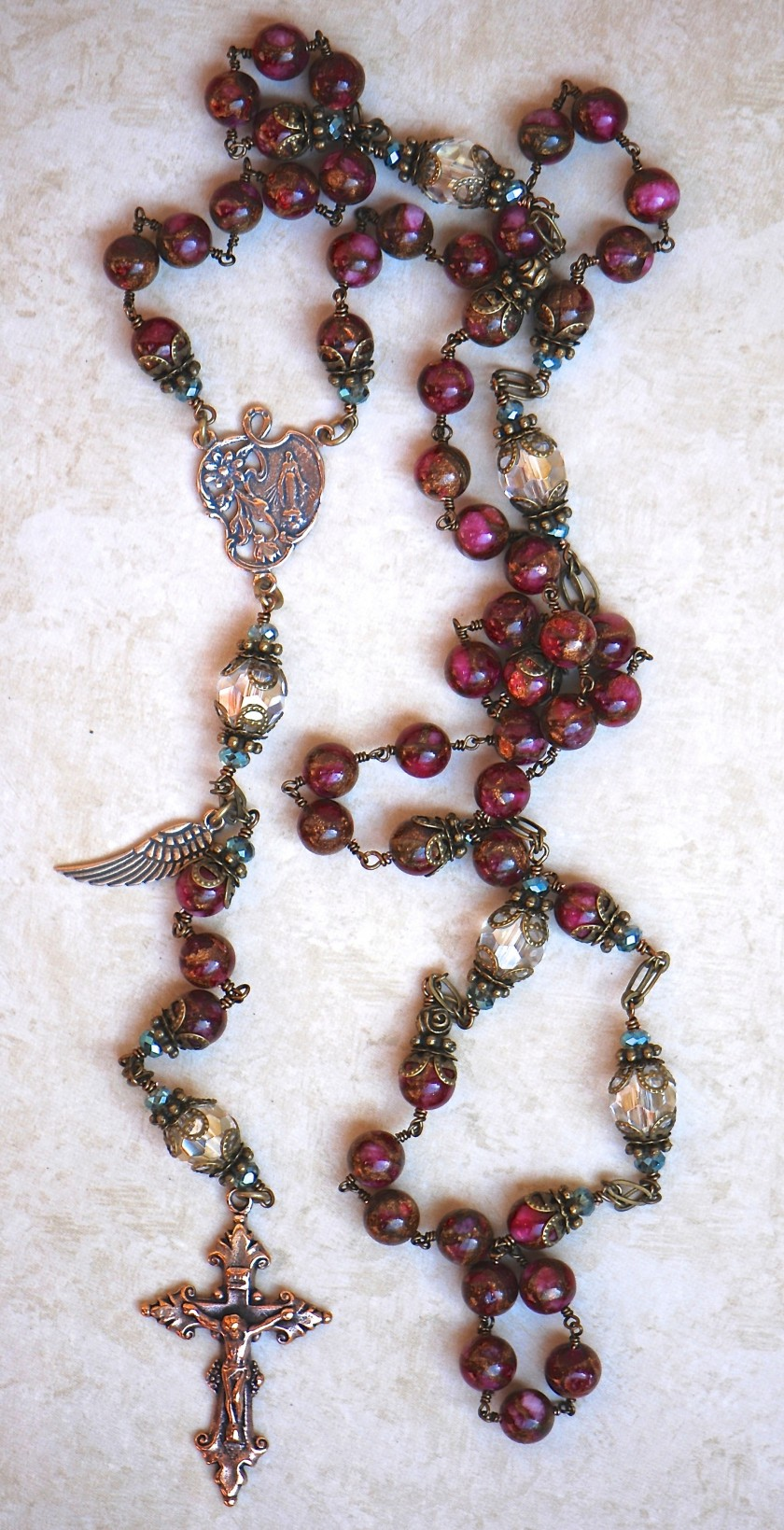Pink Marble Agate Heirloom Rosary