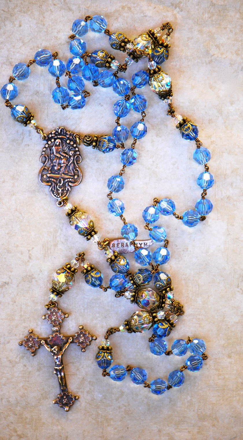 Light Blue & Clear Swarovski Crystal Heirloom Rosary