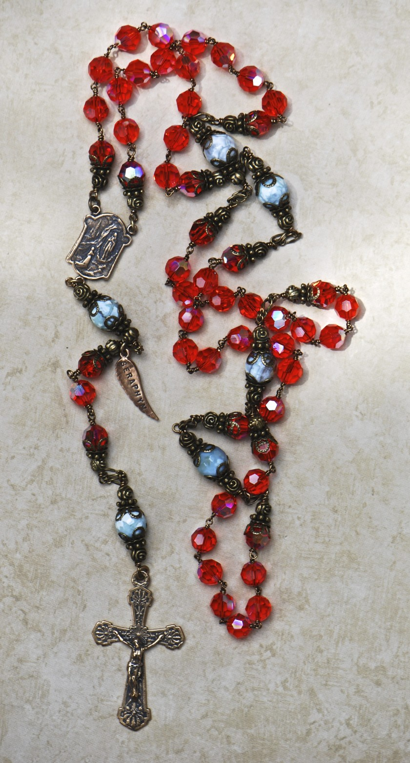 Hyacinth & Garnet Swarovski Crystal Heirloom Rosary