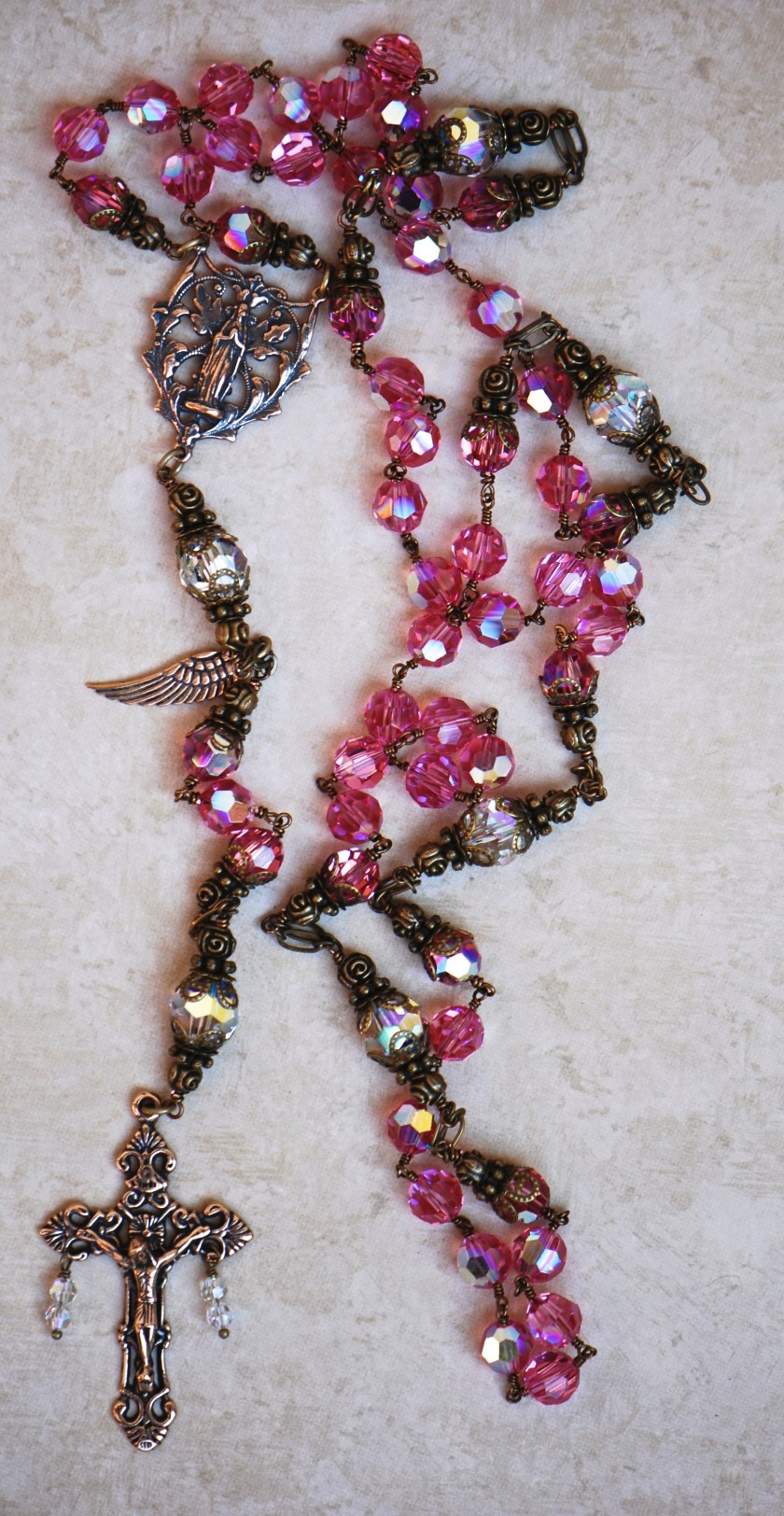 Dark Rose-Pink & Clear Swarovski Crystals Heirloom Rosary