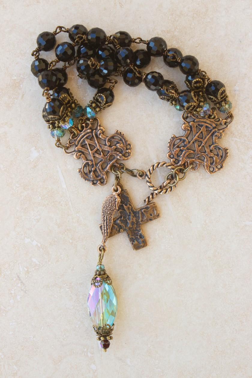 Jet Black and Aqua Crystal Bracelet