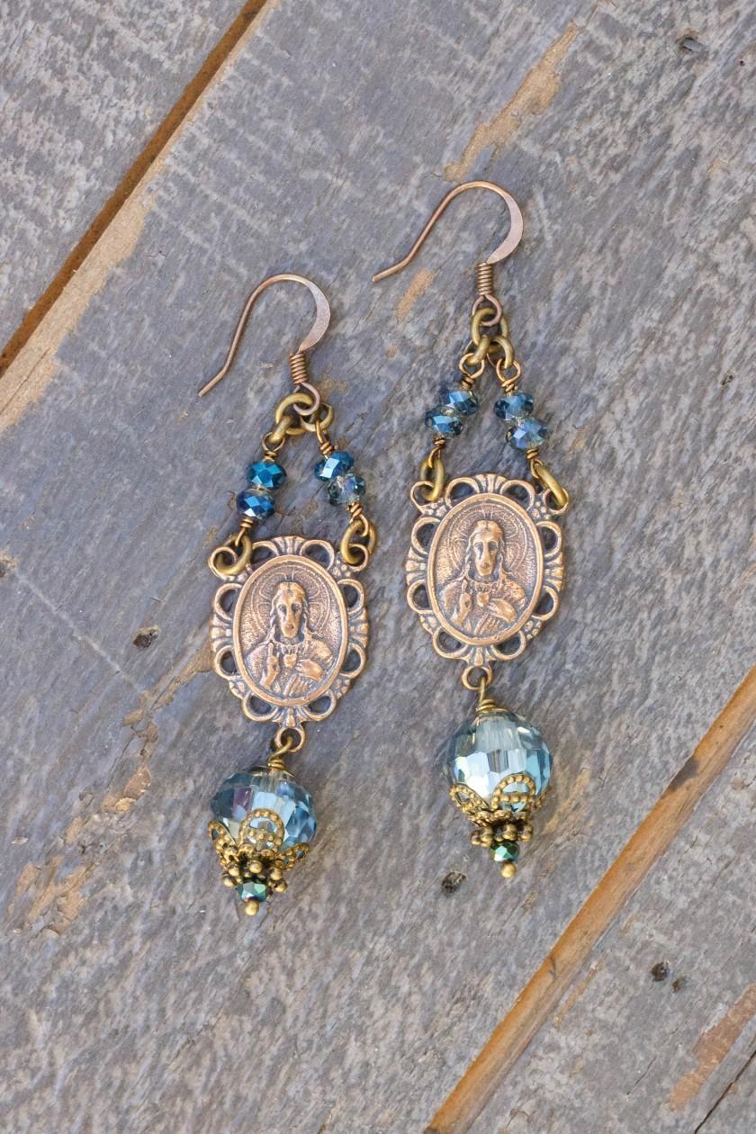 Blue and Aqua Metallic Asian Crystal Earrings