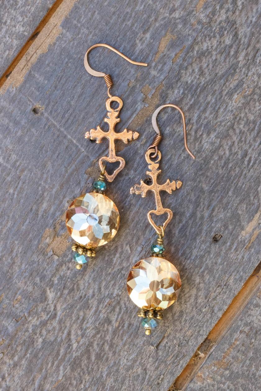Dark Champagne and Aqua Crystal Earrings