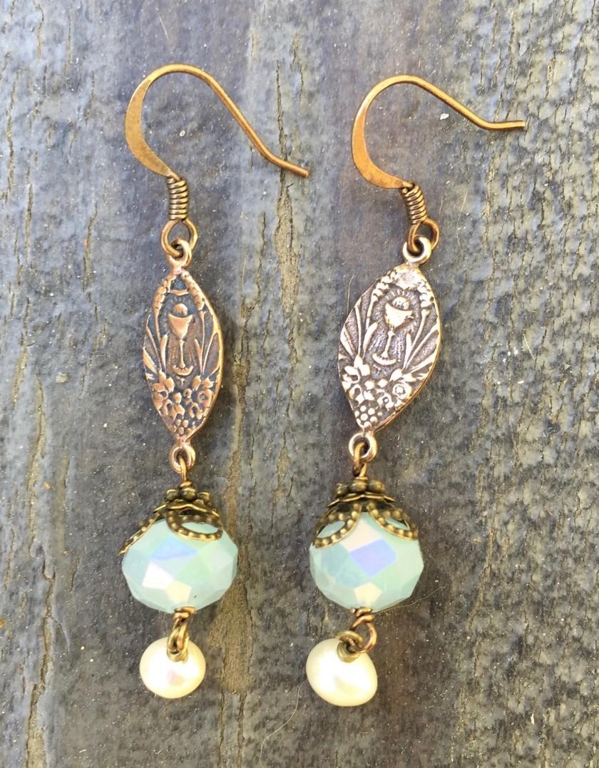 Faceted Baby Blue Crystal Earrings