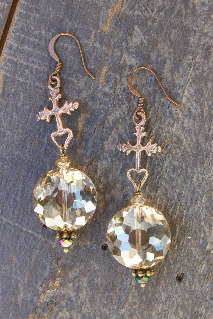 Champagne and Rainbow Crystal Earrings