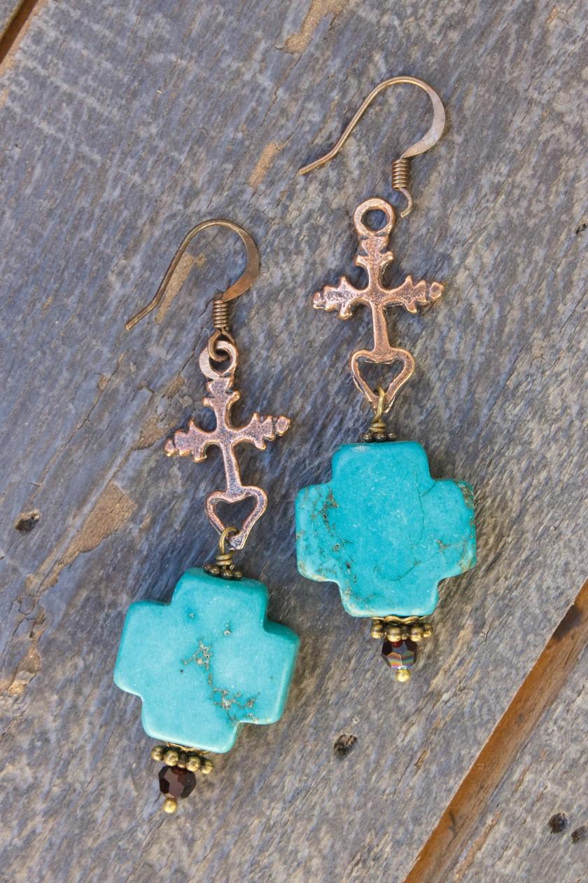 Cross Howlite Crystal Earrings