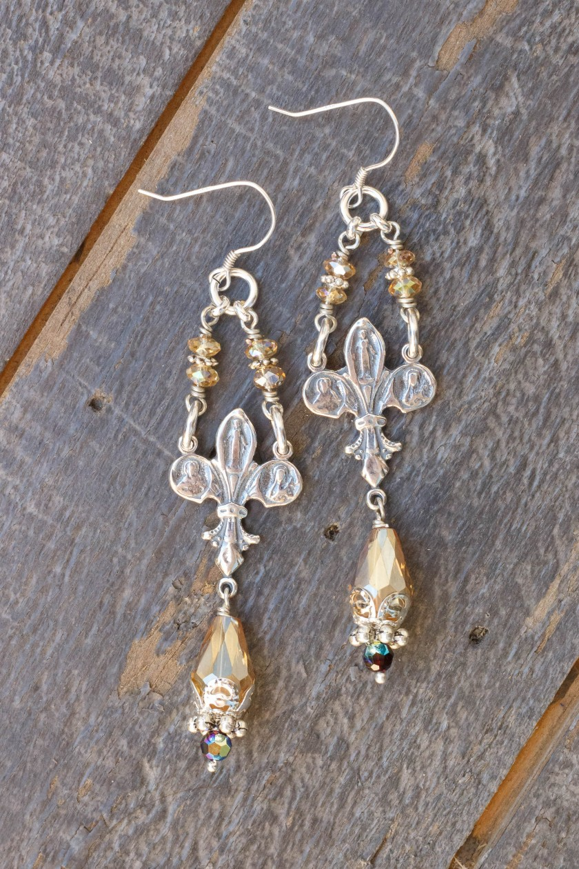 Champagne and Aqua Asian Crystal Earrings