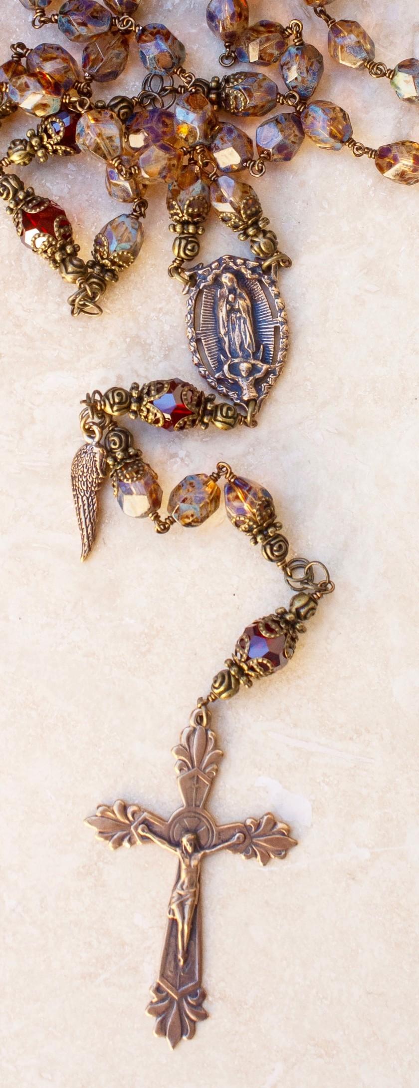 Amber-stone Glass Heirloom Rosary