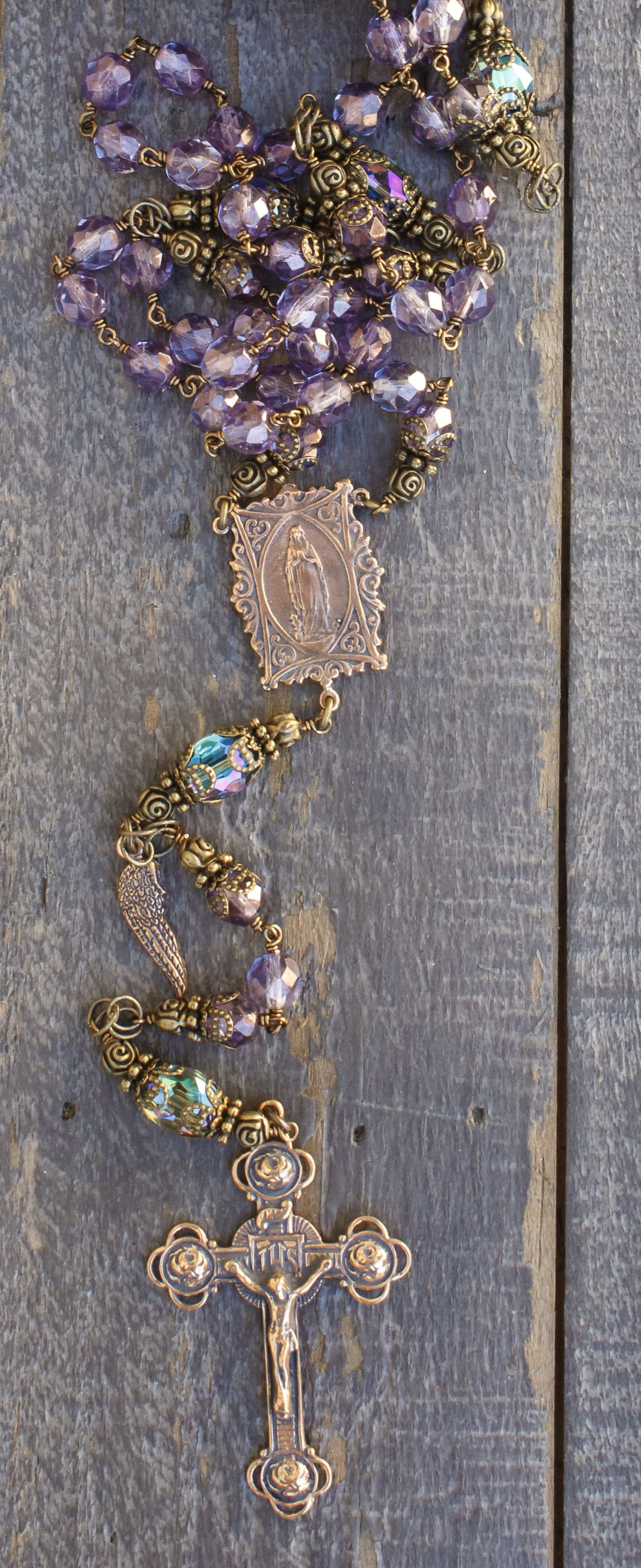 Faceted Lavender Glass Rosary Seraphym Designs