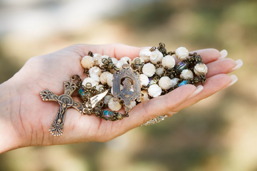 Beige Mother of Pearl Rosary