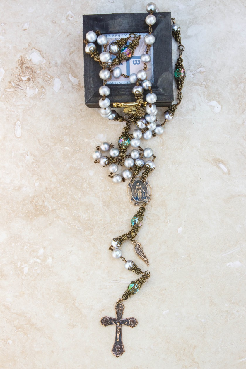 Silver Pearl Rosary-8mm