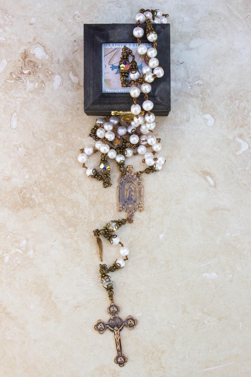 Cream Pearl 6mm Rosary