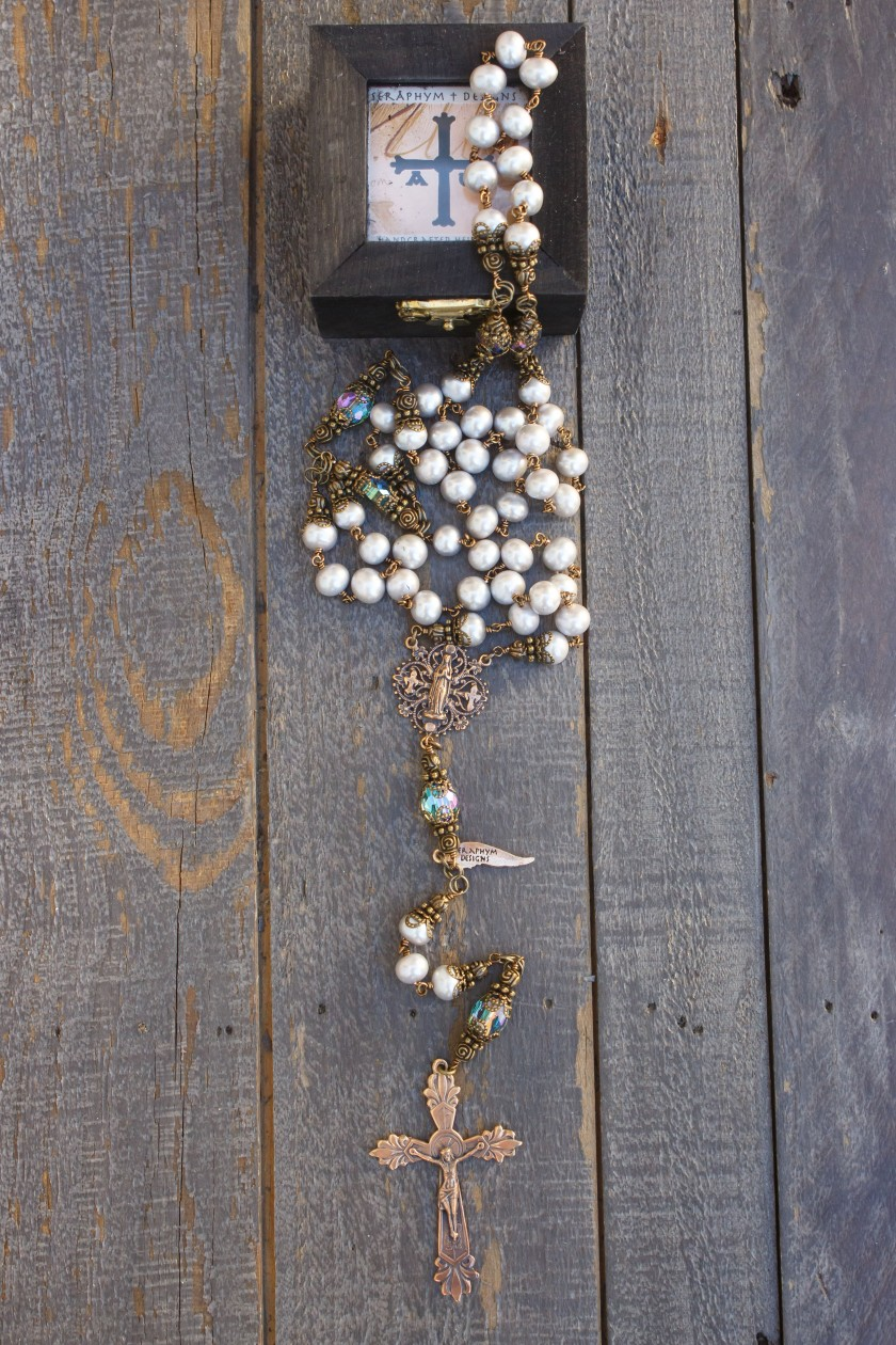 Silver Fresh Water Pearl Rosary