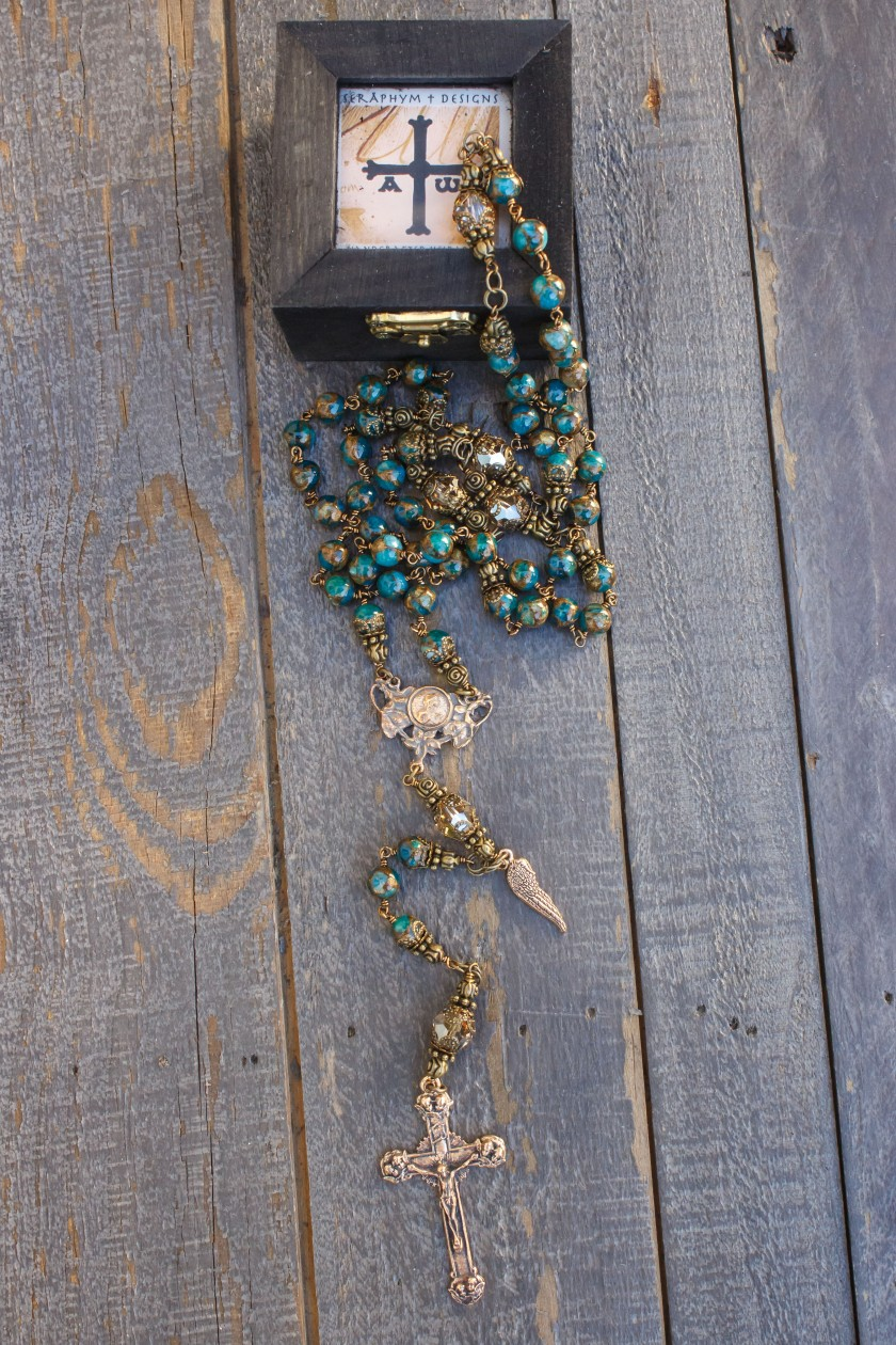 Green Marbled Agates Rosary