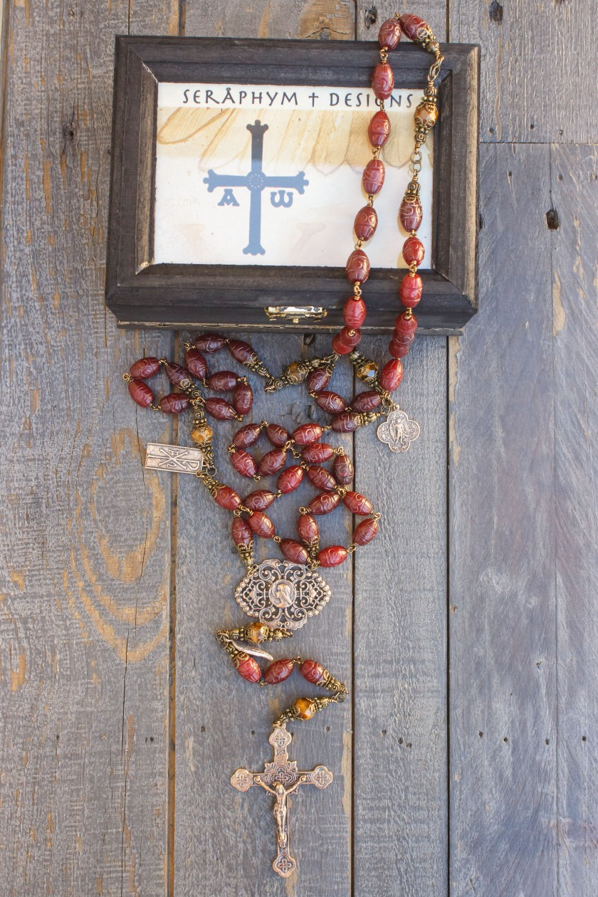 Carved Dyed Jade Stone Rosary