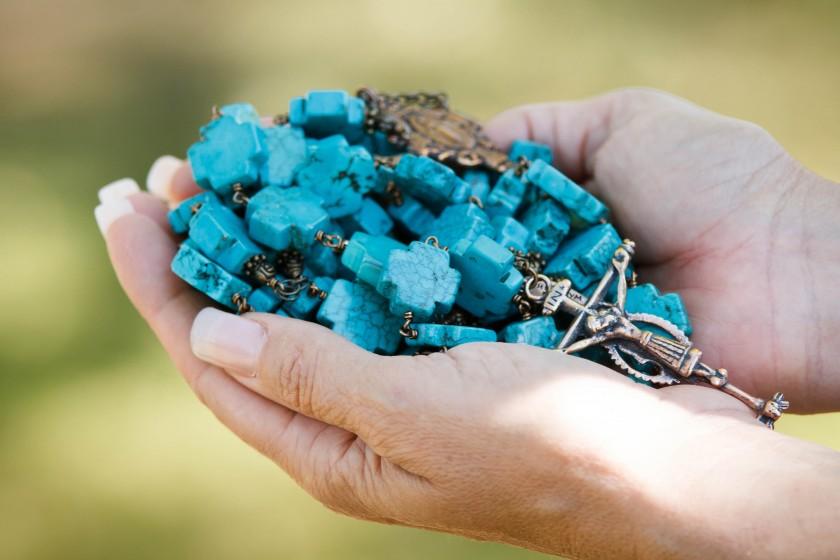 Howlite Cross Bead Rosary