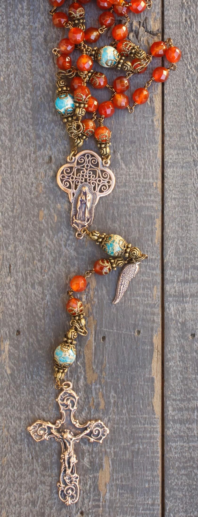 Faceted Carnelian Quartz Heirloom Rosary