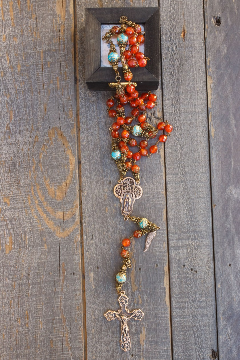 Faceted Carnelian Quarts Rosary