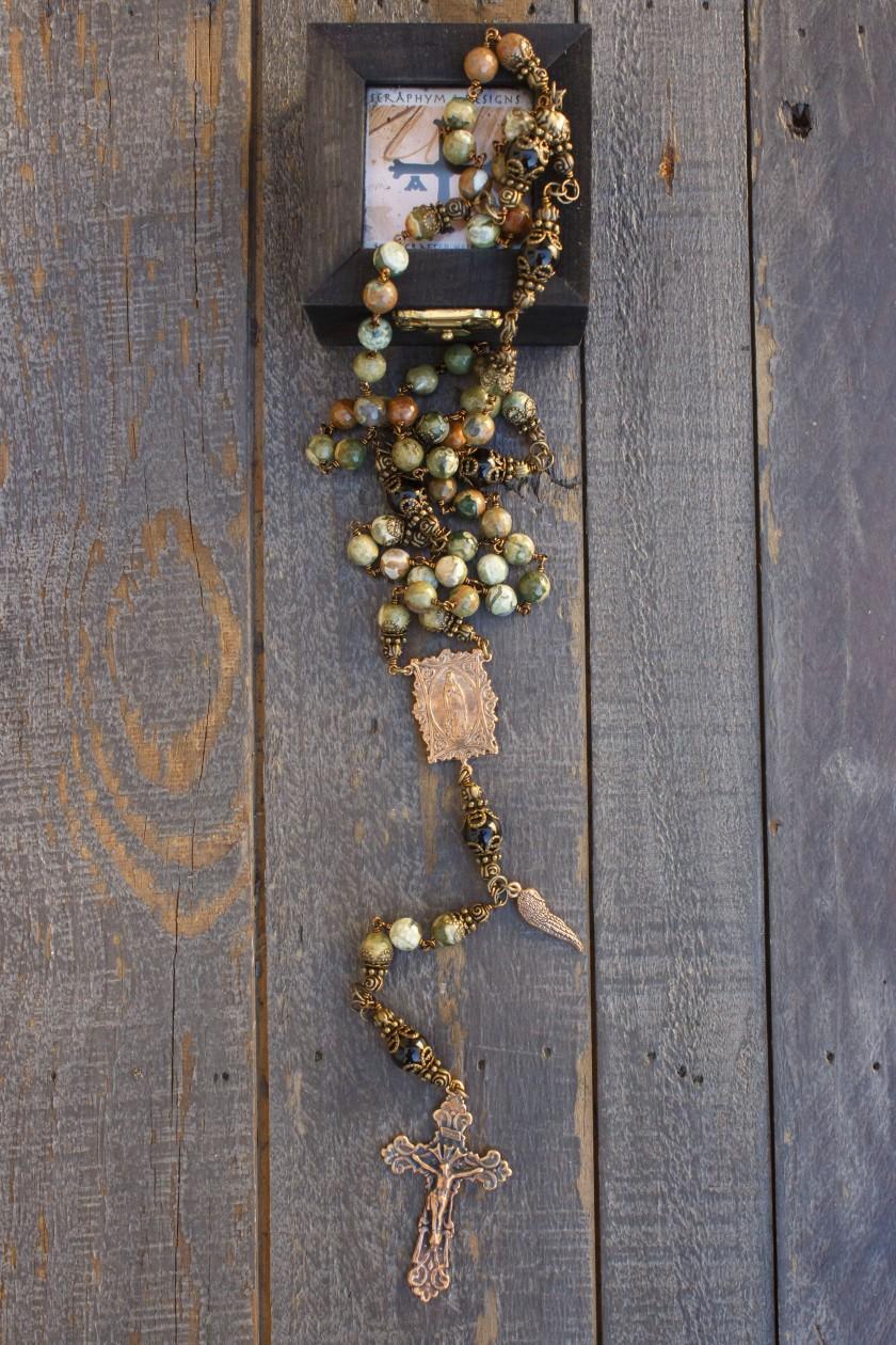 Faceted Green Jasper Rosary