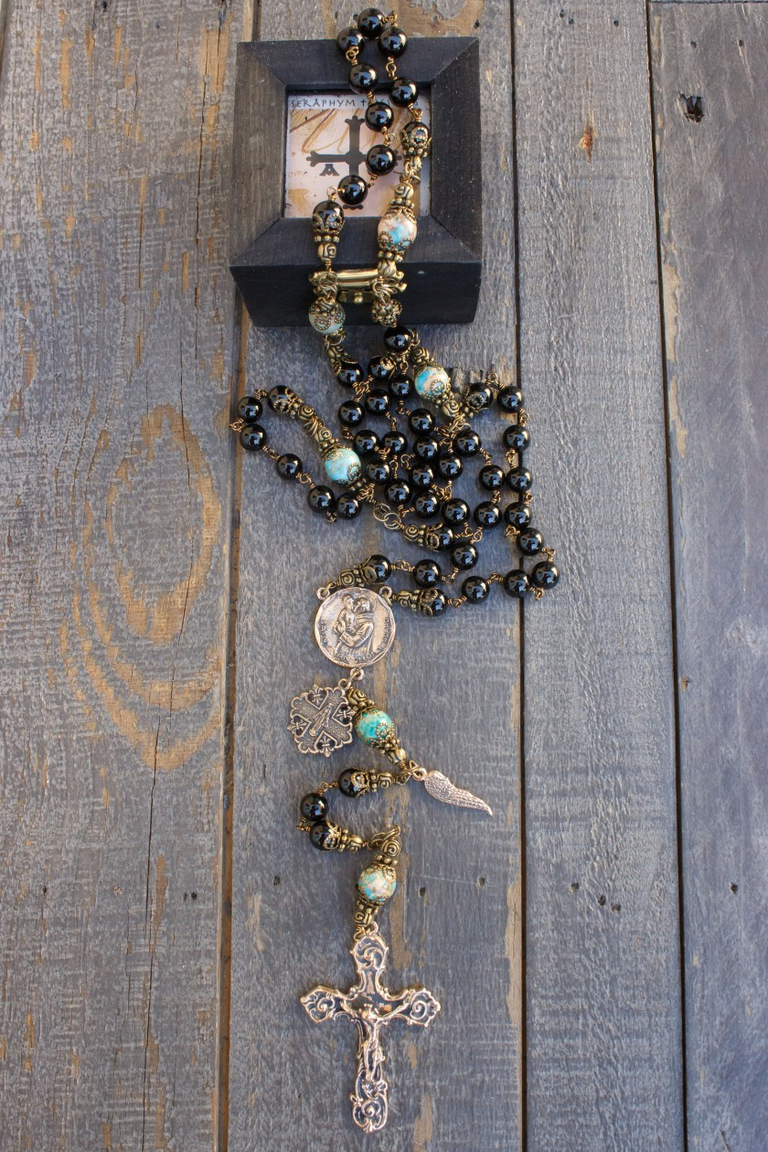 Natural Black Onyx Rosary