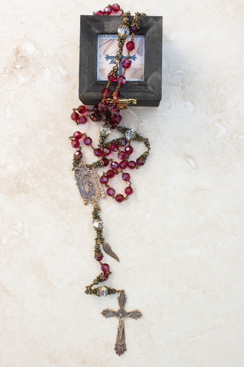 Ruby and Clear Crystal Rosary