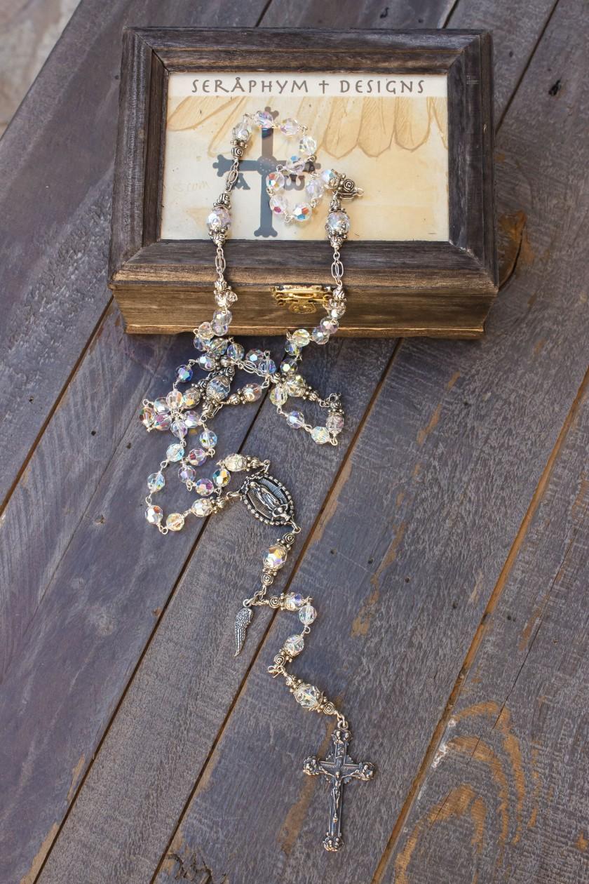 clear swarovski Sterling Silver rosary