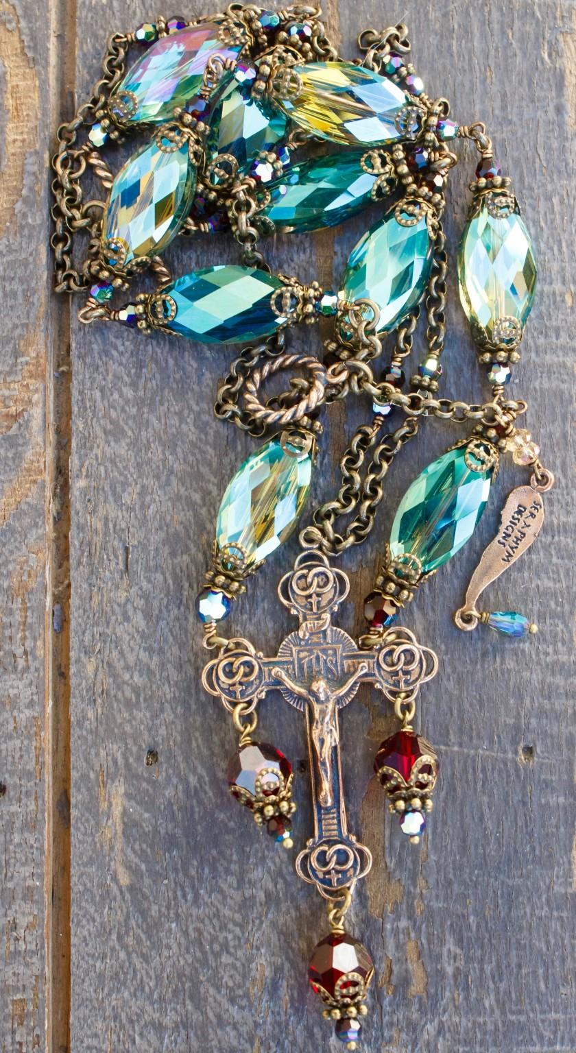 Aqua with Garnet Crystal Necklace – 14x20mm
