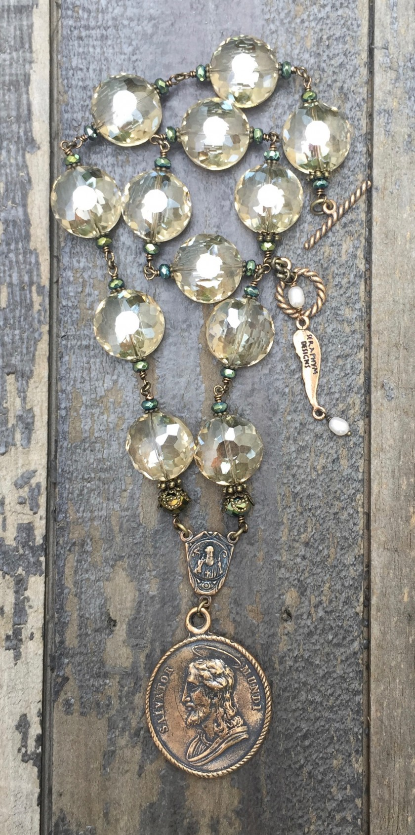 Champagne and Aqua Crystal Necklace – 14mm