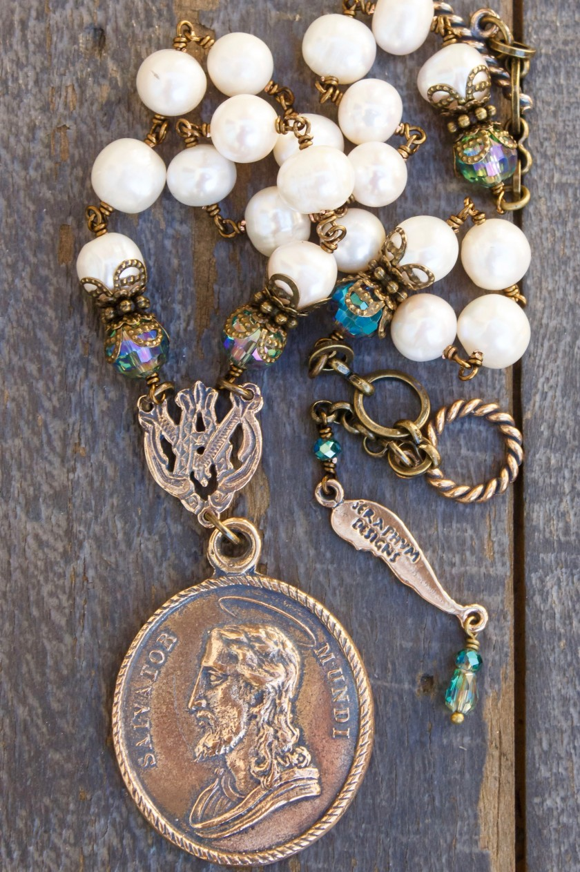 Silver Fresh Water Pearl with Aqua Crystal Necklace – Blessed Mother Mary
