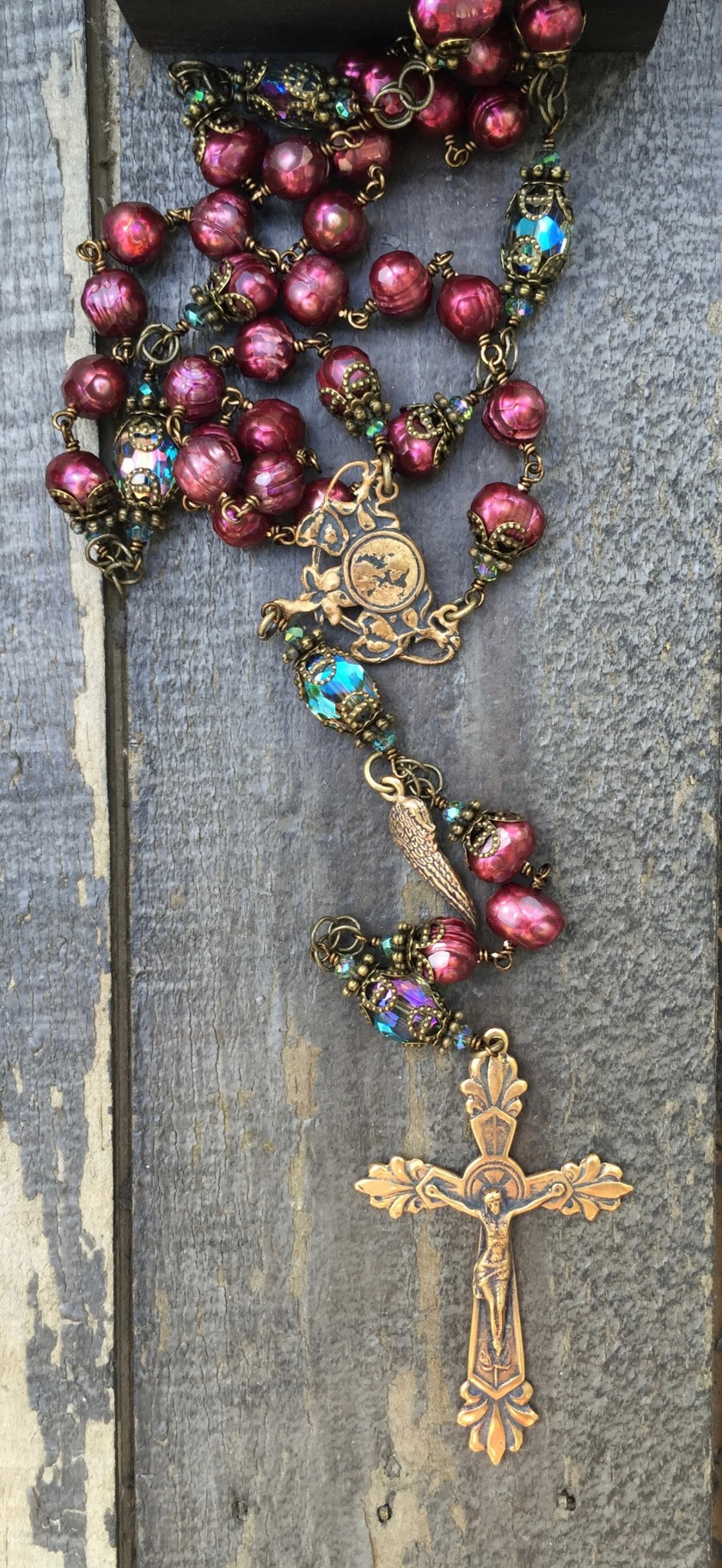Faceted Cranberry Pearl Rosary – 8mm